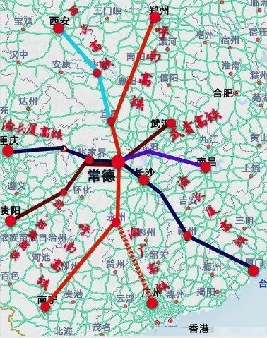 常益长高铁开通时间为2022年年底,5条高铁交汇于常德